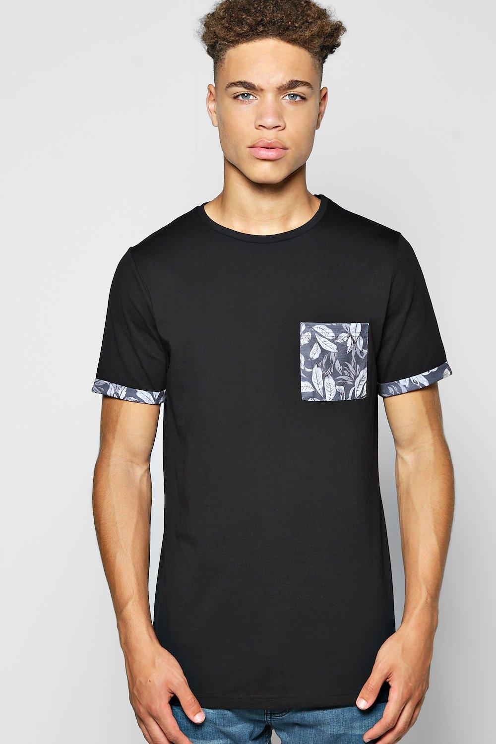 Pocket Print T Shirt With Turn Up Cuff