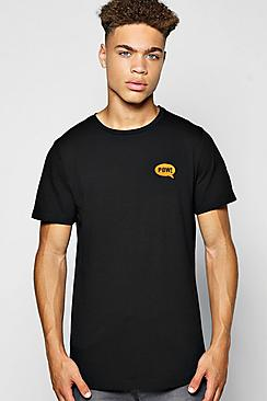 Pow Badge T Shirt With Curve Hem