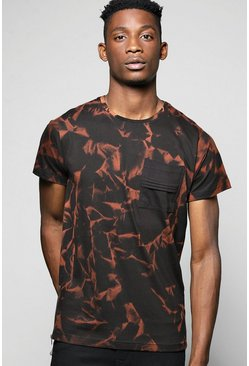Smokey Printed Tee With Woven Patch Pocket