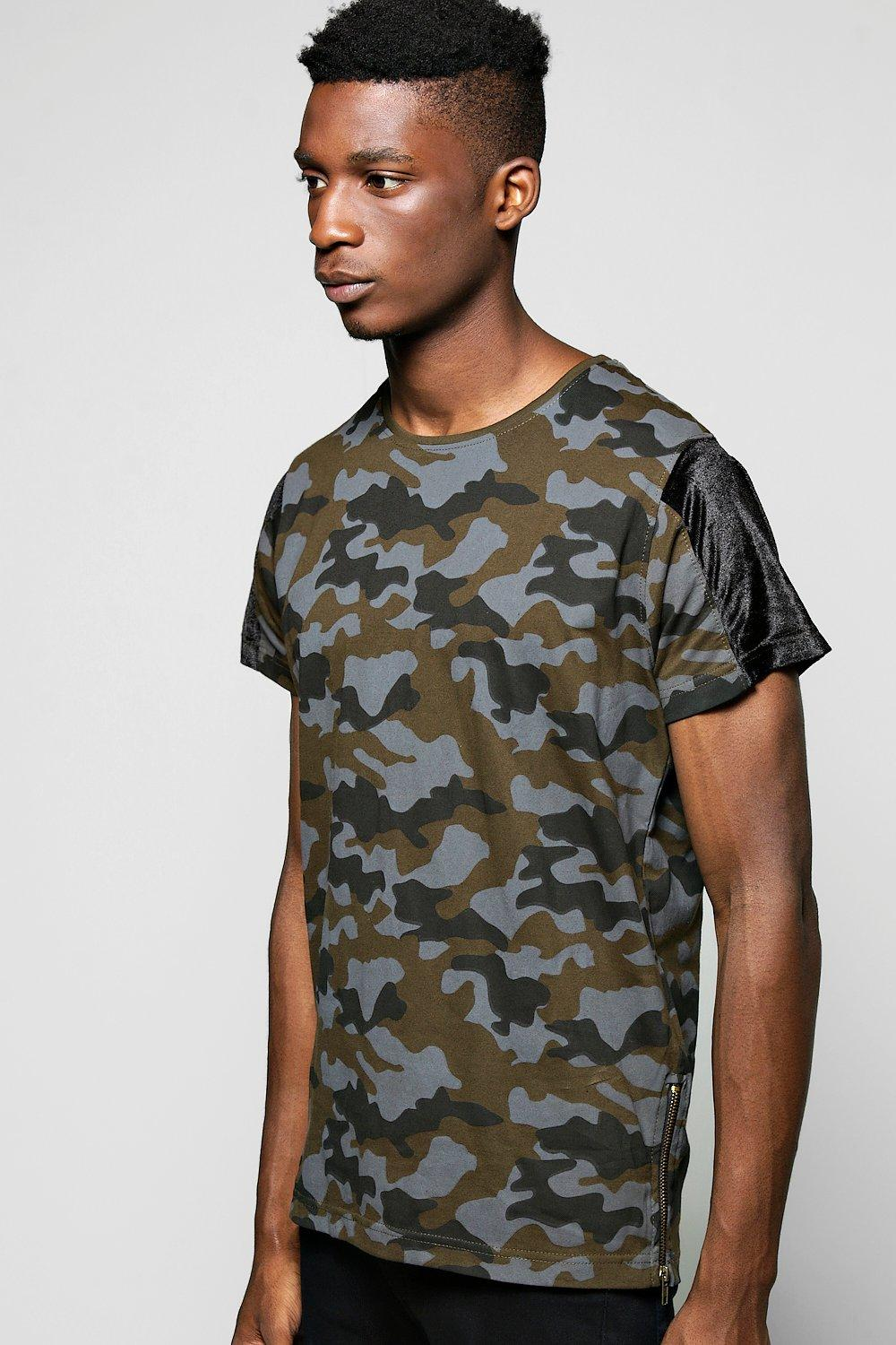 Camo Print T Shirt With Gold Side Zips