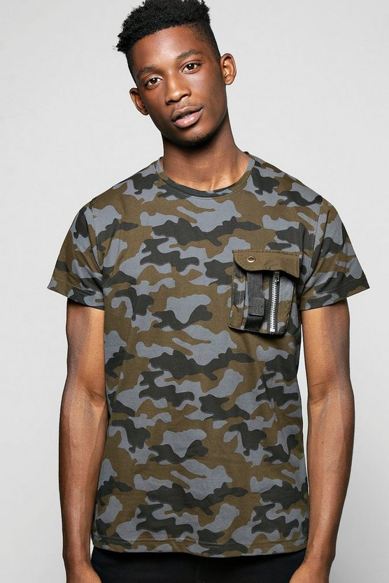Camo Print With Pocket Detail And Zip T Shirt