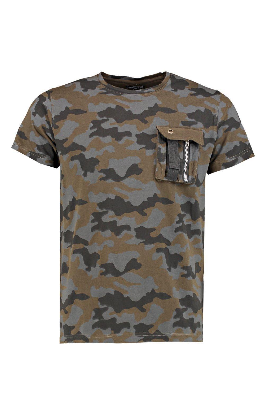 Boohoo Mens Camo Print With Pocket Detail And Zip T Shirt