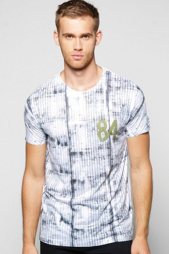 Tie Dye Grid Sublimation T Shirt
