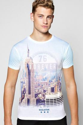 New York Skyline Print T Shirt