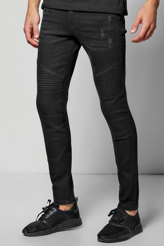 Washed Black Super Skinny Fit Jeans with Biker Detail