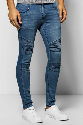 Mid Blue Super Skinny Fit Jeans with Biker Detail