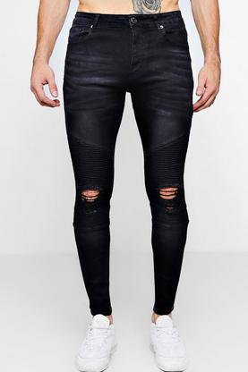 Washed Black Biker Detail Skinny Fit Jeans