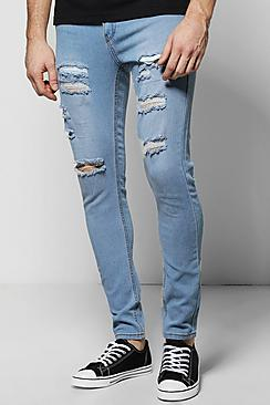 Pale Blue All Over Ripped Skinny Fit Jeans