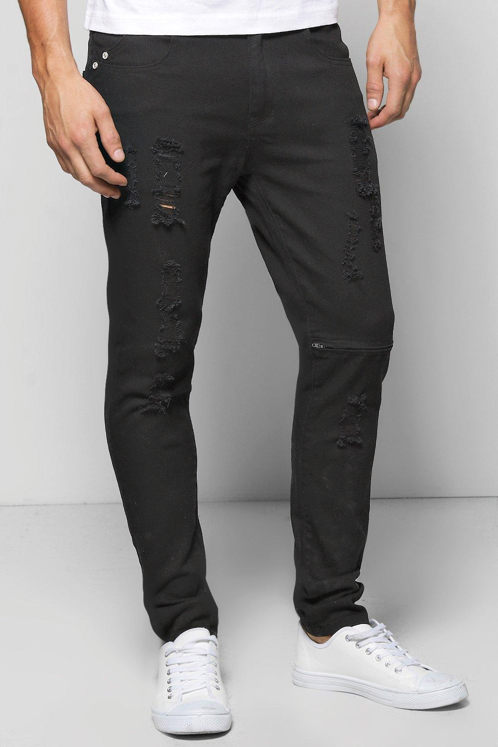 Black Super Skinny Fit Ripped Jeans with Zipped Knee
