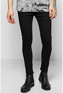 Black Spray On Skinny Jeans with Biker Detail