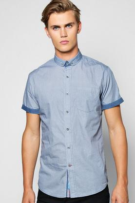 Short Sleeve Microcheck Shirt With Contrast Collar