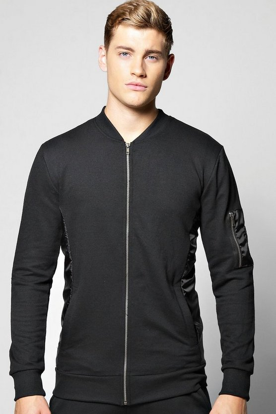 MA1 Jersey Bomber With Nylon Panel