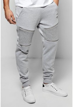Skinny Fit Biker Joggers With Rips And Zips