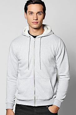 Borg Lined Zip Through Hoodie