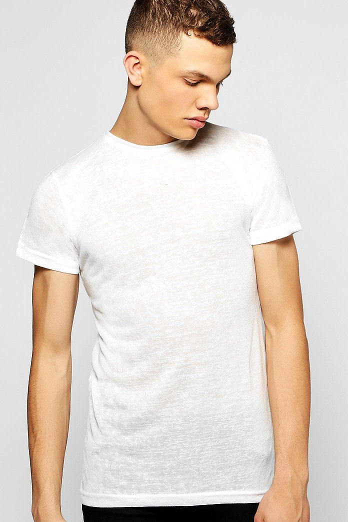 Skater Fit Knitted T Shirt With Curved Hem