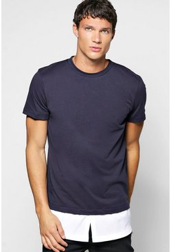 Faux Layer T Shirt With Woven Hem