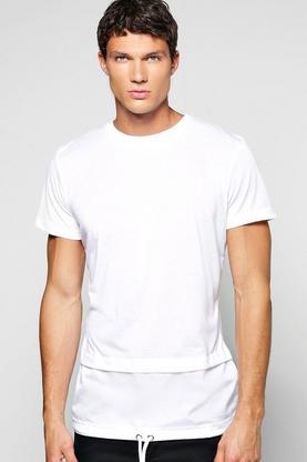 Faux Layer T Shirt With Mock Drawcord Hem