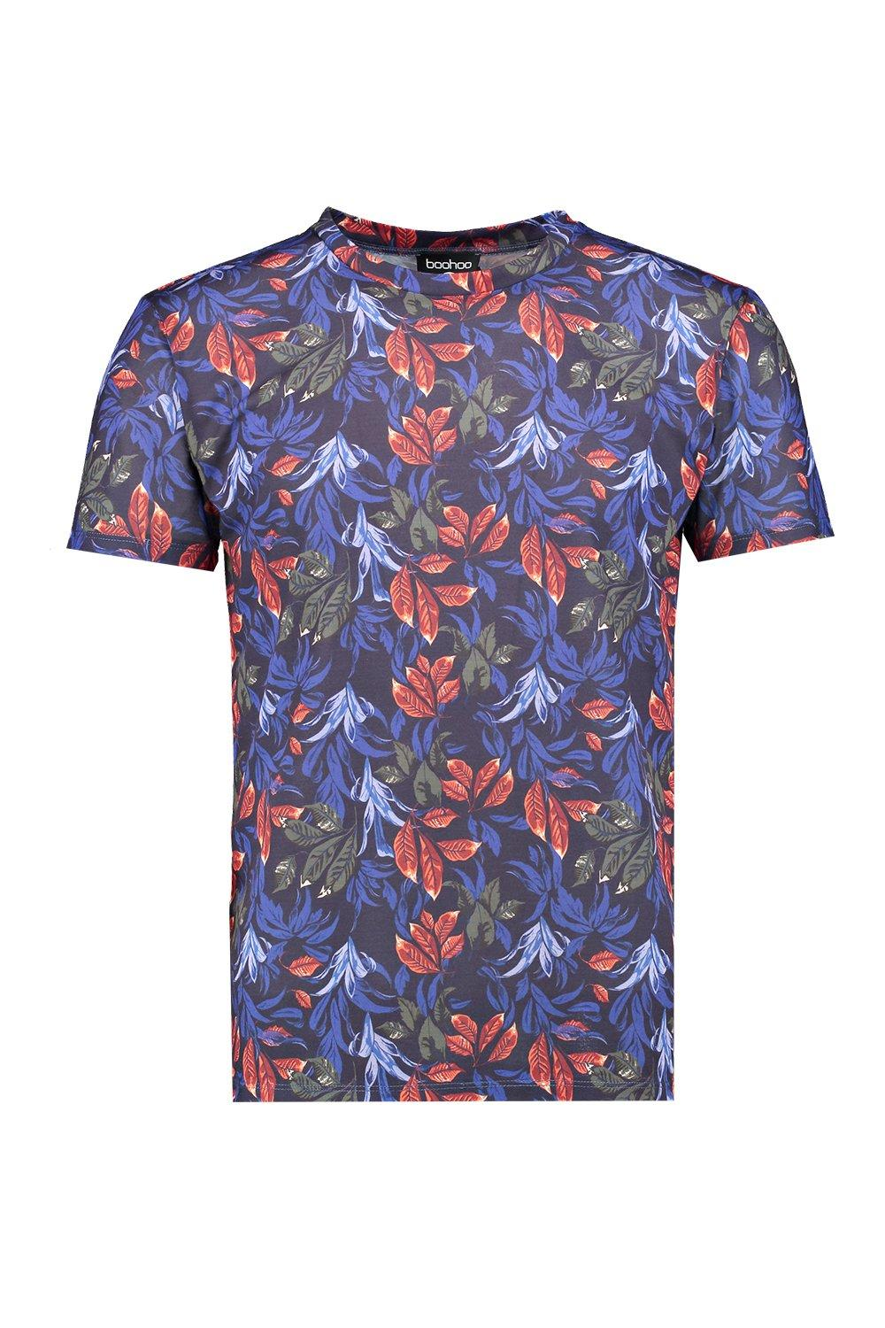 Boohoo mens all over floral sublimation t shirt ebay for Floral mens t shirts