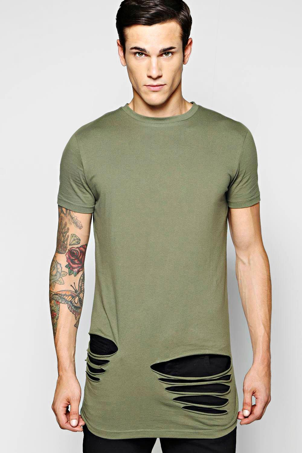 Longline Destroyed T Shirt With Scoop Hem