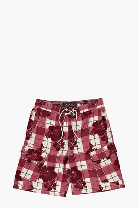 Hibuscus Floral Check Swim Shorts