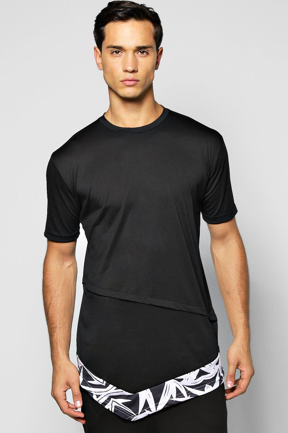 Longline T Shirt With Asymmetric Hem Shape