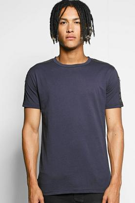 Crew Neck T Shirt With Shoulder Taping
