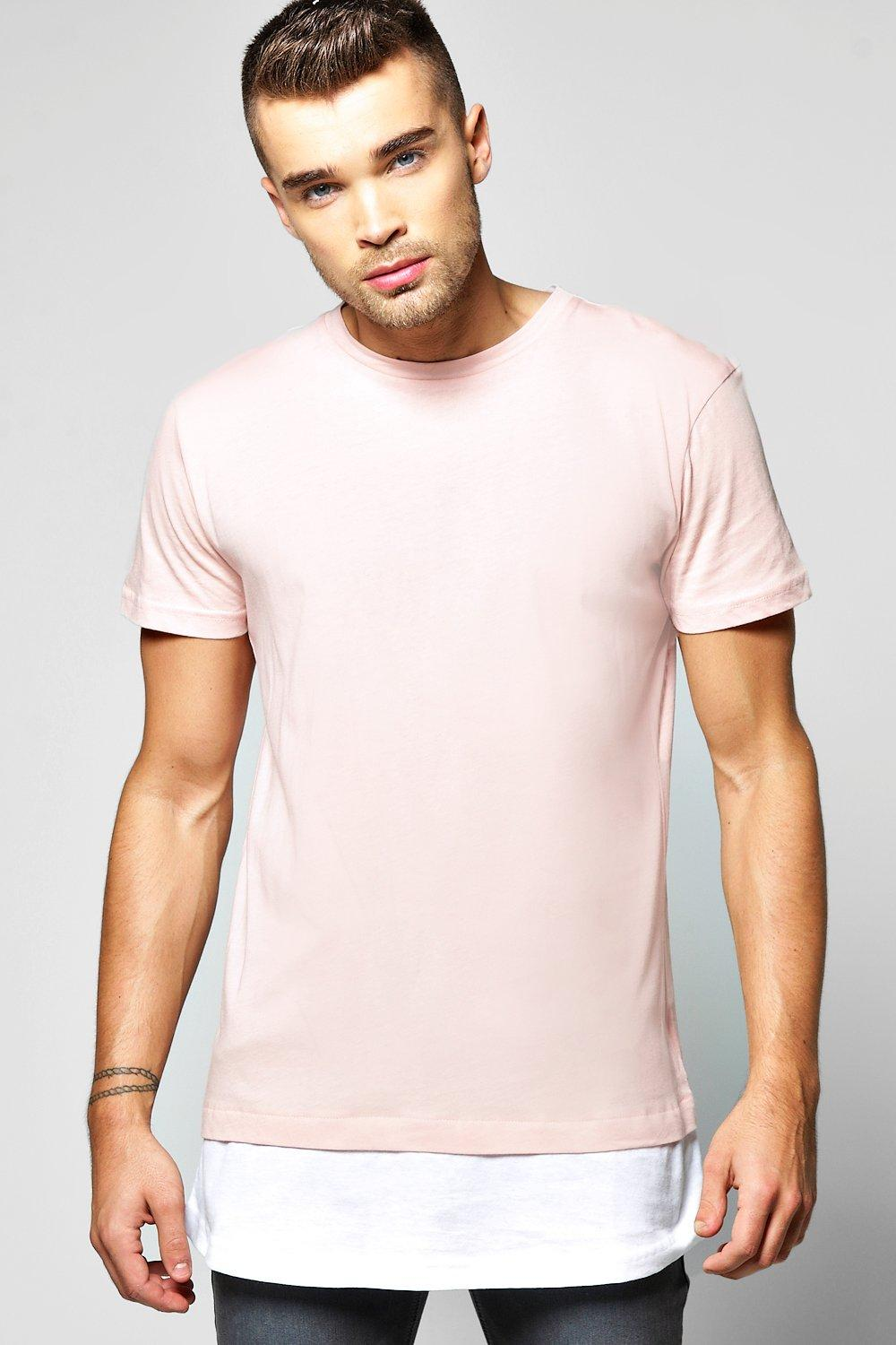 Faux Layer T Shirt With Mock Hem