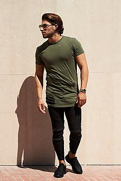 Skater Fit Destroyed T Shirt With Double Zip