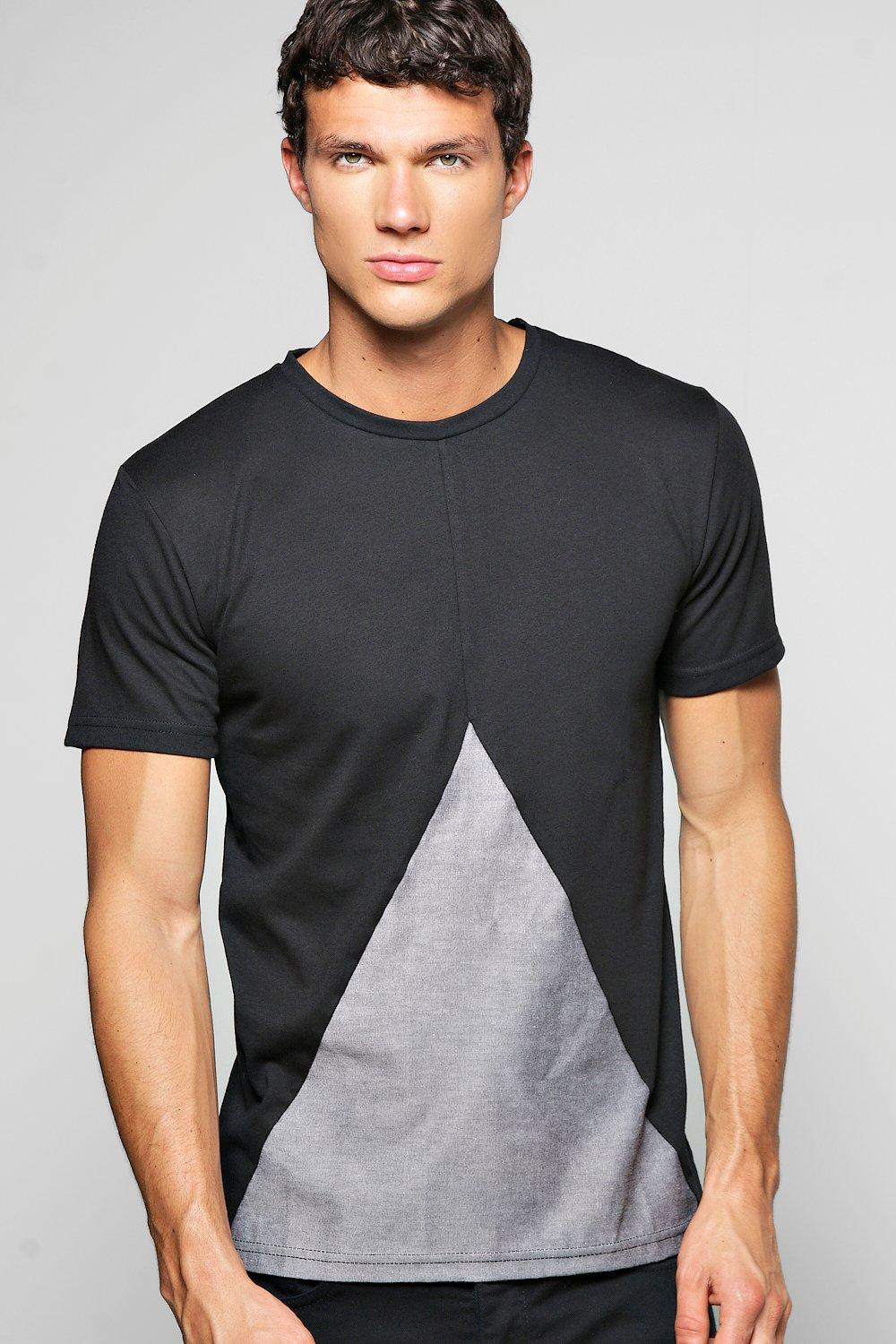 Spliced Woven Panel T Shirt