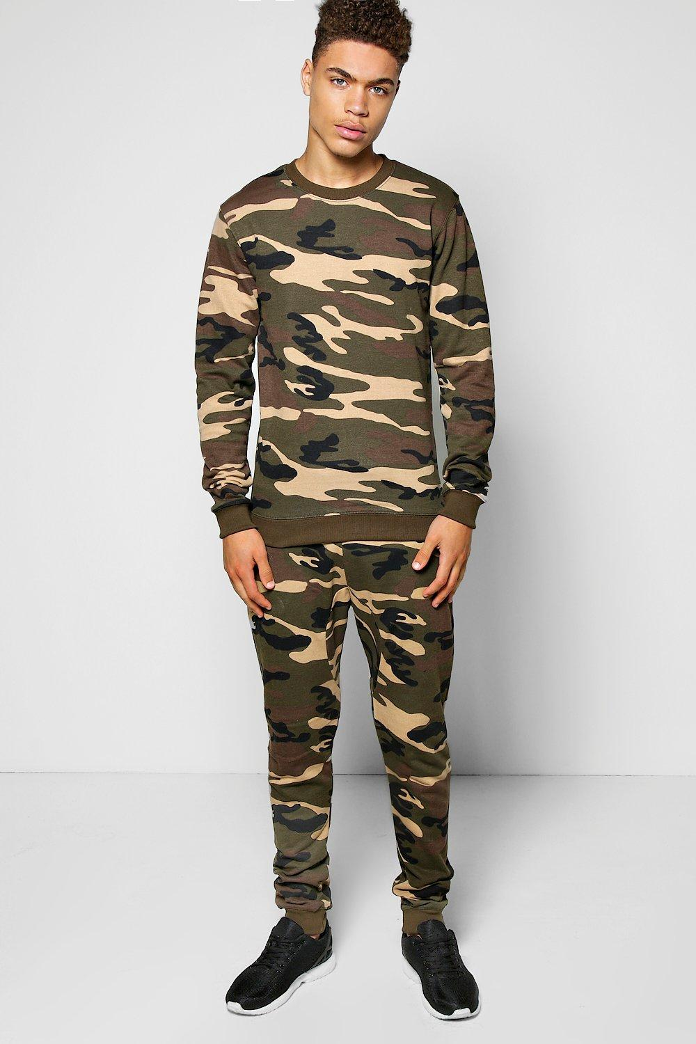 Skinny Fit Camo Tracksuit