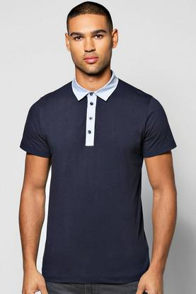 Chambray Collar Polo