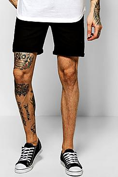 Skinny Fit Black Denim Shorts