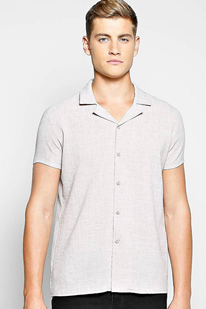 Linen Look Revere Collar Shirt