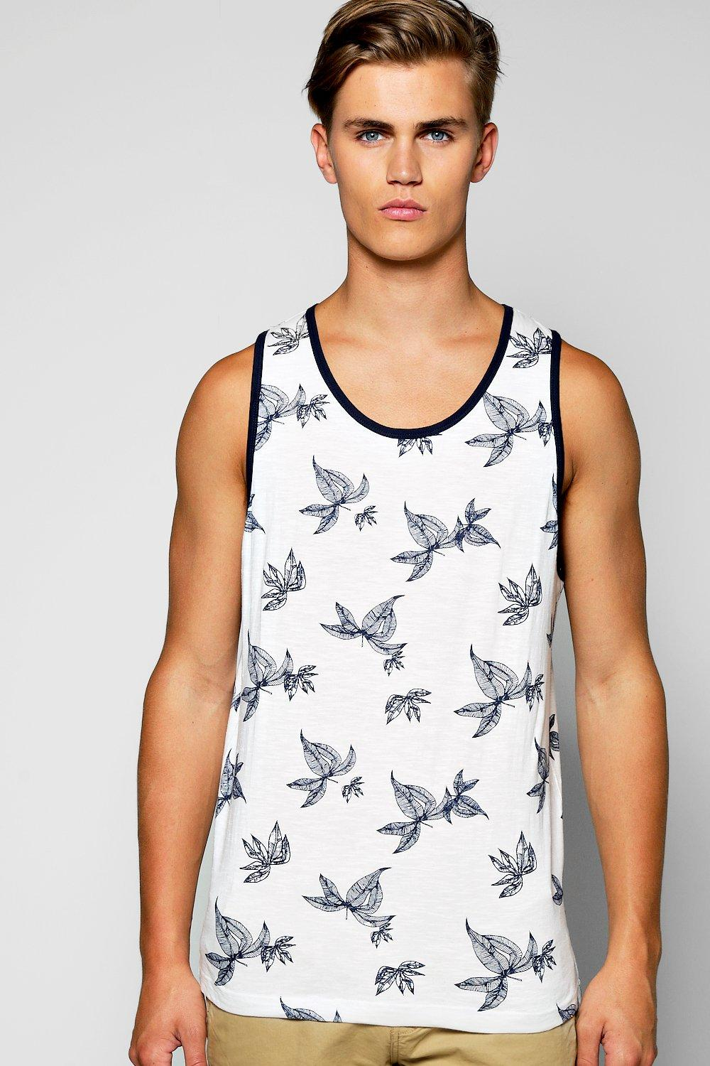 Over Leaf Print With Navy Binding Vest white
