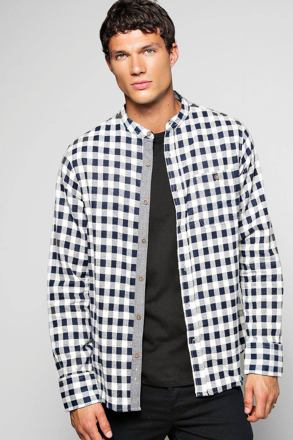 Grandad Collar Brushed Check Pocket Shirt