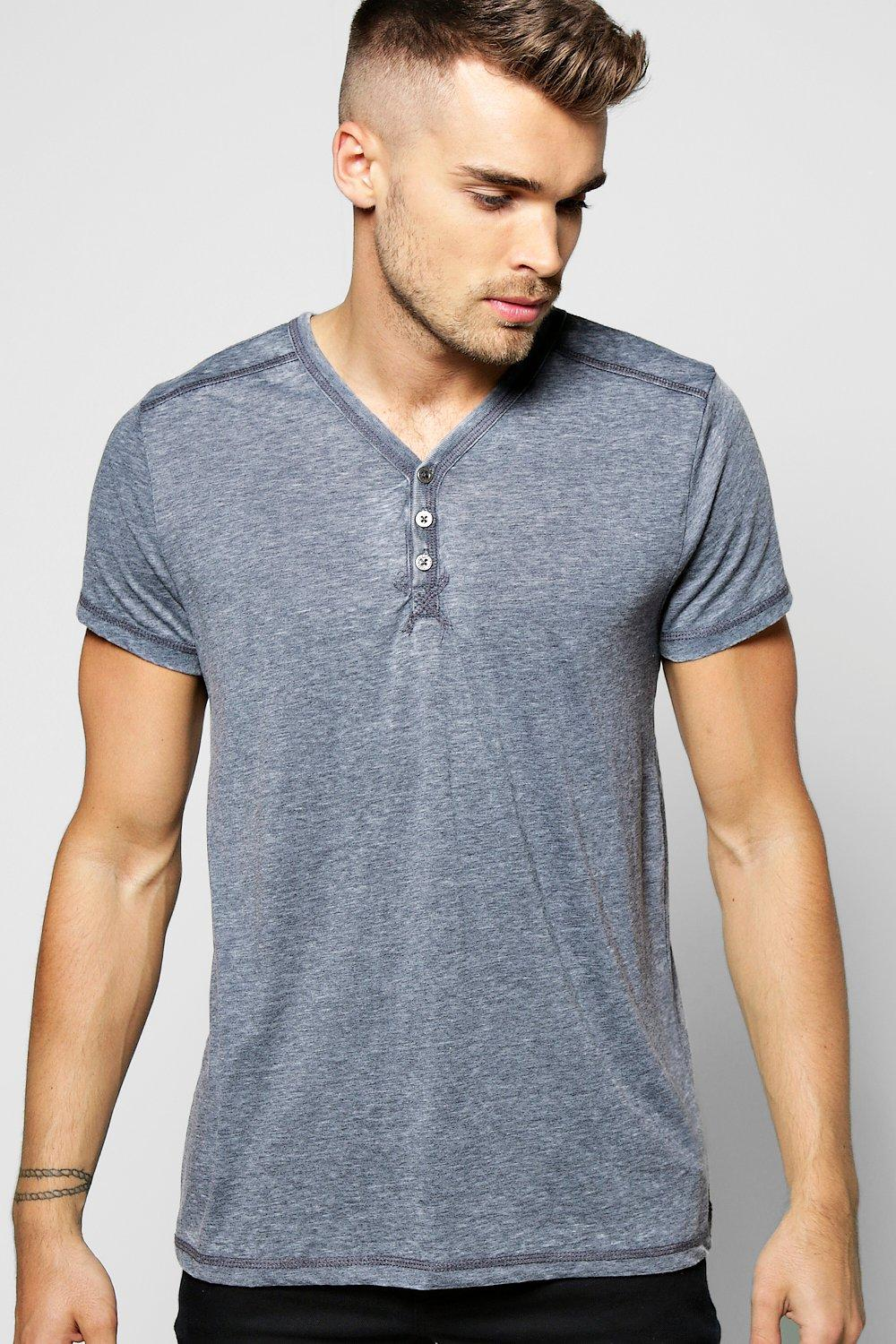 Burnout Tee With V Neck Placket