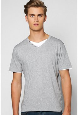 Double Layer V Neck T Shirt With Button Detail