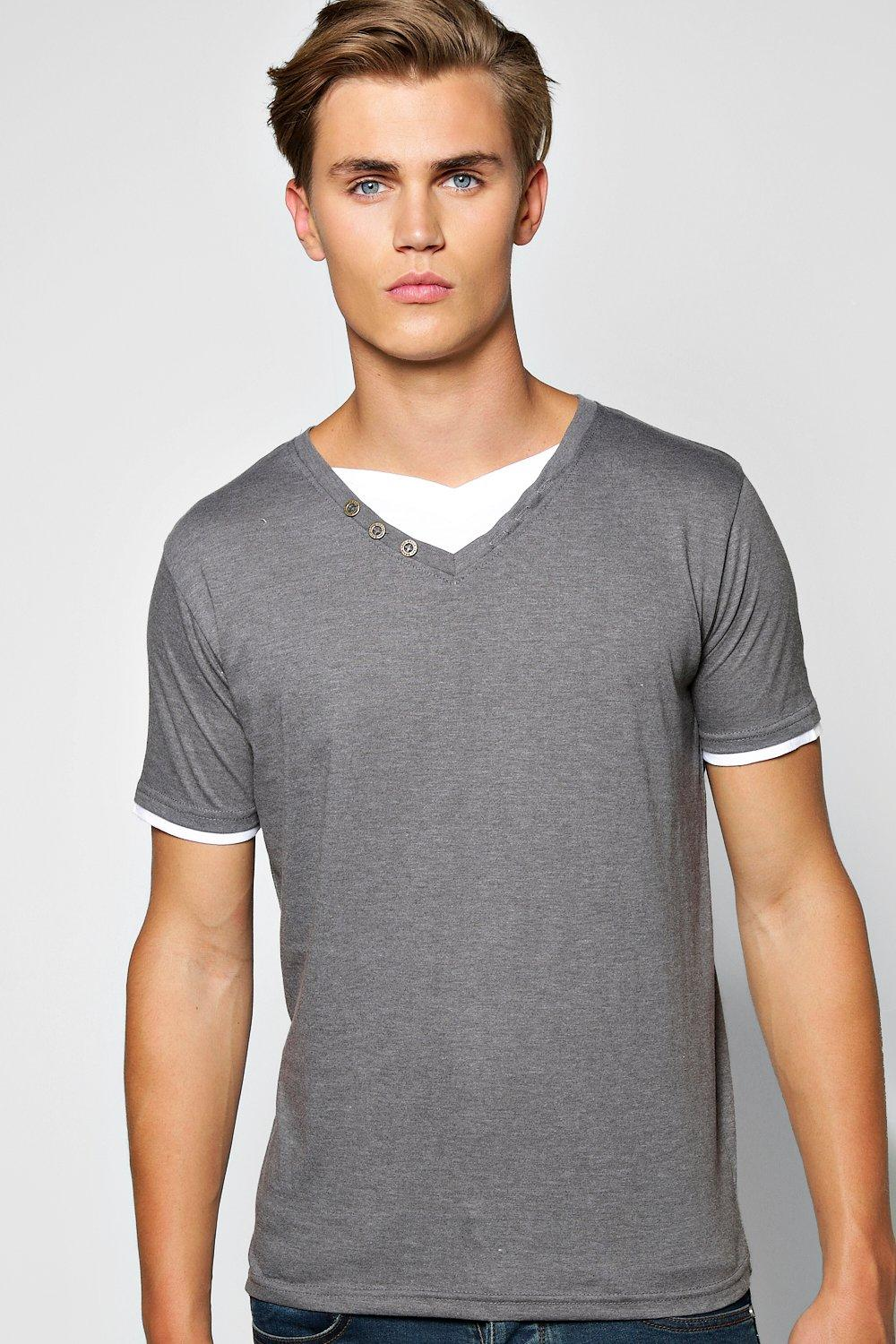 Double Layer V Neck With Button Detail