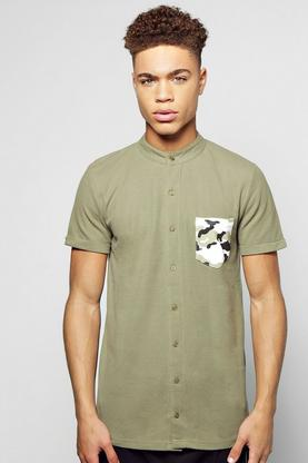 Camo Pocket Grandad Shirt