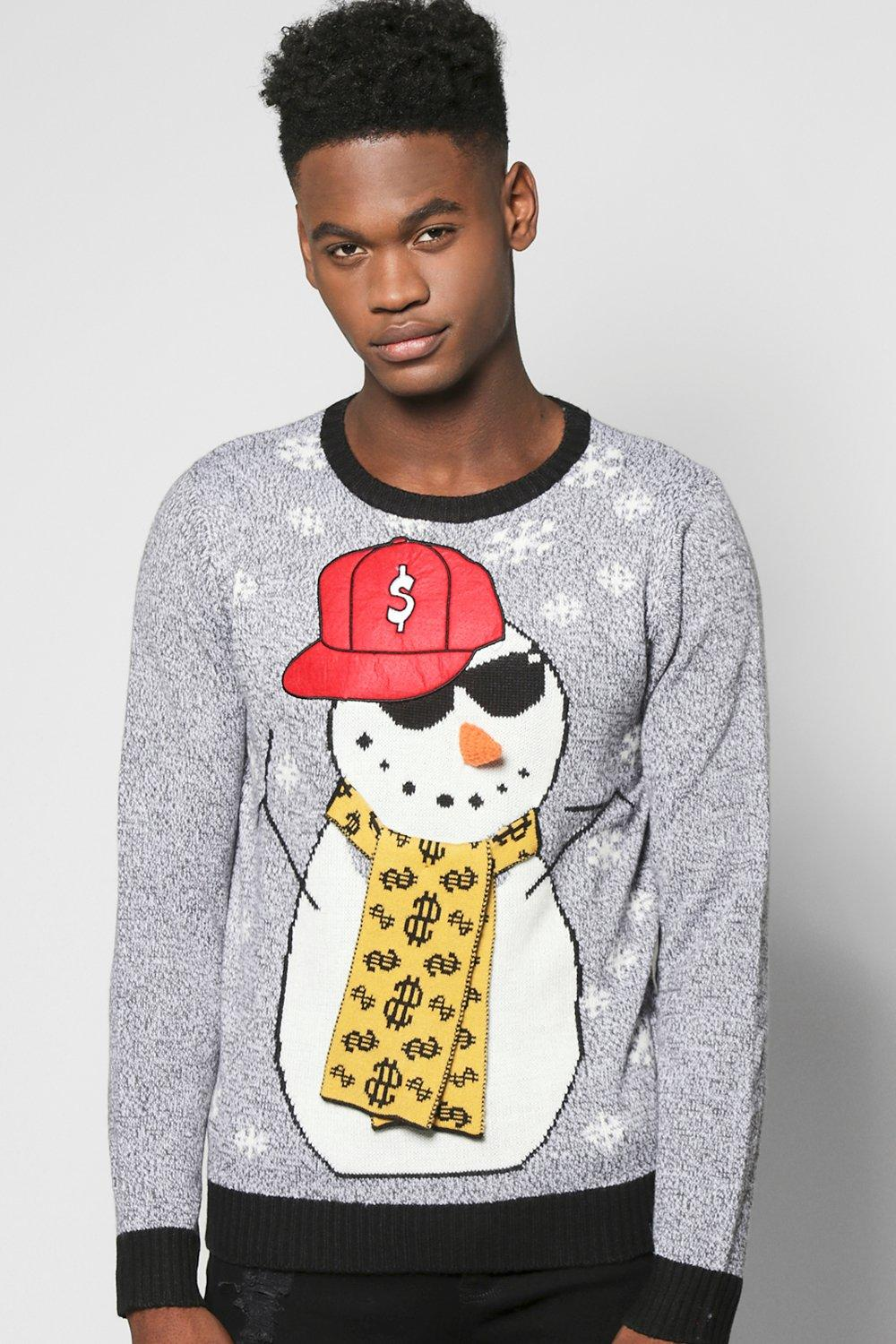 Image of 3D Snowman Xmas Jumper - black