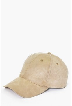Sand Faux Suede Baseball Cap