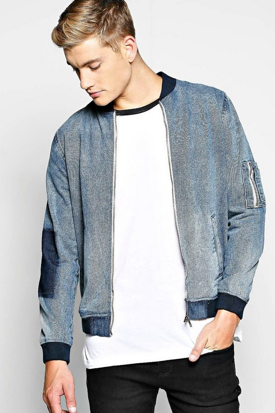 Zip Through MA1 Denim Jacket with Bomber Neckline