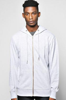 Cotton Pique Zip Through Hoodie