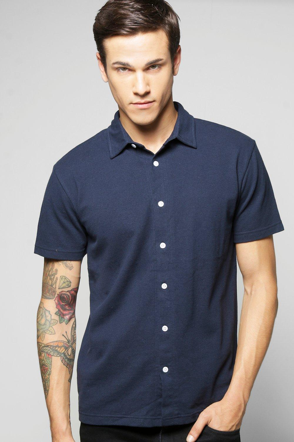 Pique Short Sleeve Button Through Shirt