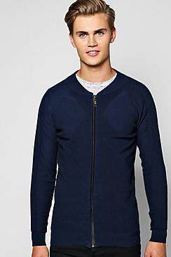 Multi Ribbed Panelled Zip Through Bomber