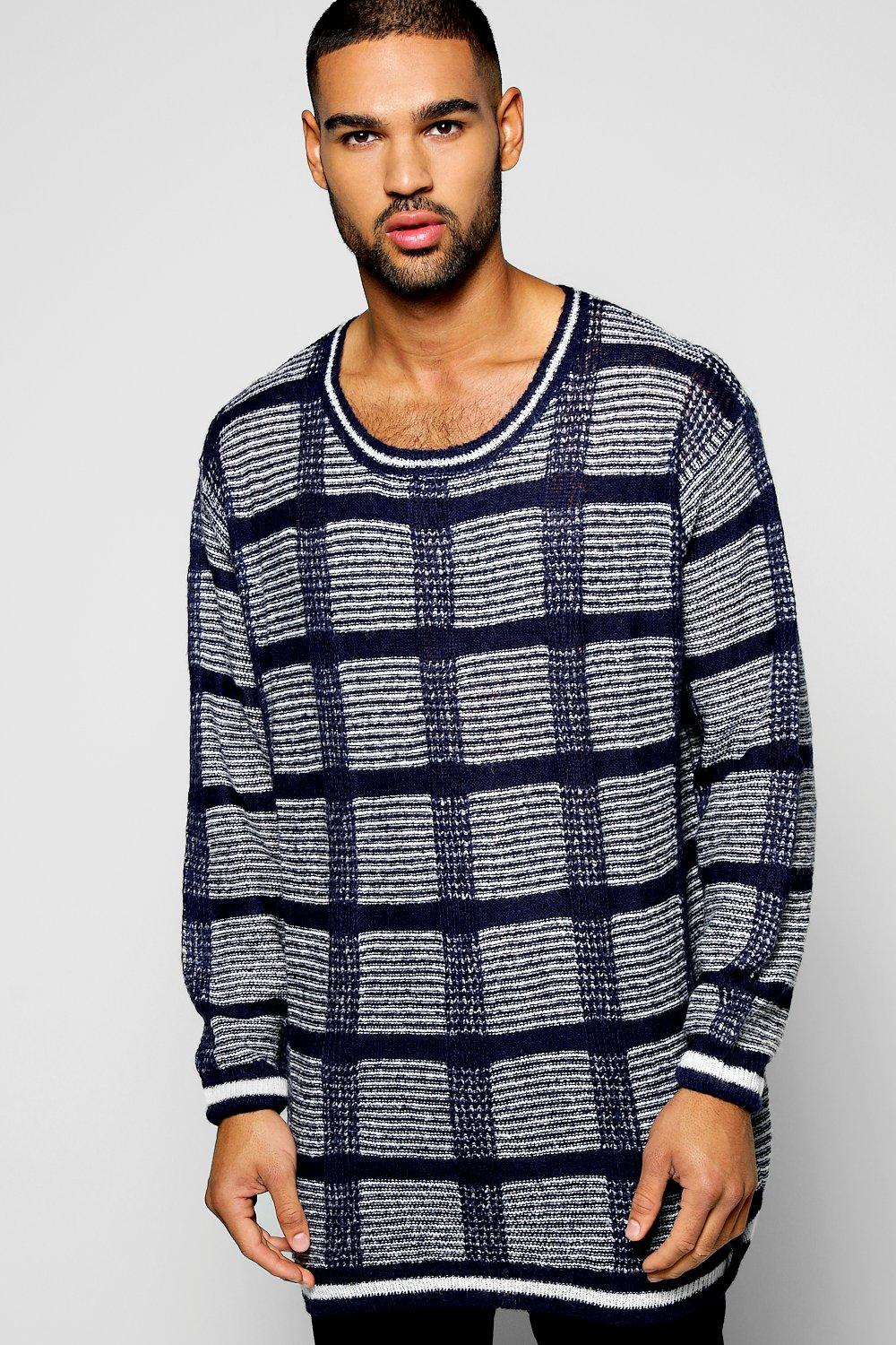 Checked Knitted Longline Jumper