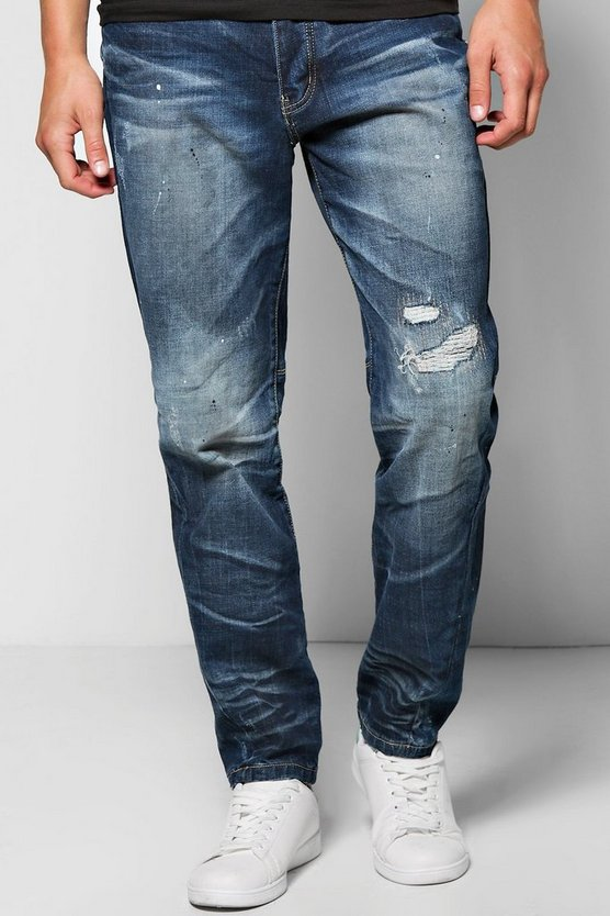 Tapered Leg Slim Fit Abraised Knee Jeans