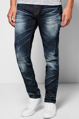 Skinny Fit Washed And Abraised Jeans