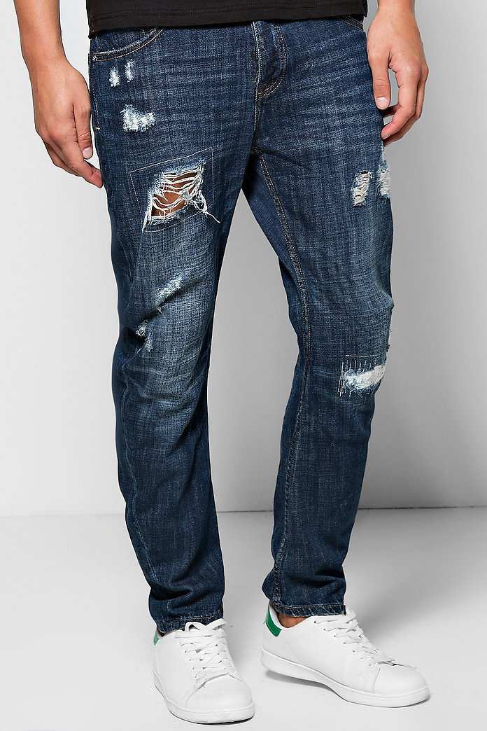 Relaxed Curved Rip And Repair Distressed Jeans