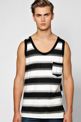 Yarn Dyed Irregular Stripe Vest